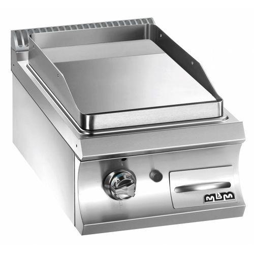 Płyta grillowa gazowa pojedyncza nastawna gładka chromowana| linia Domina 700 | 5,5 kW | 400x730x(H)250 mm