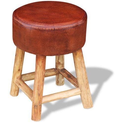 Vidaxl  taboret prawdziwa skóra, brąz i naturalne drewno (8718476002900)
