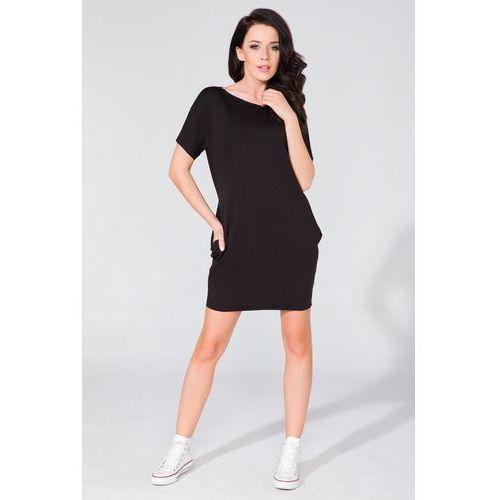 Prosta dzianinowa czarna sukienka z kieszeniami po bokach, Tessita, 34-44