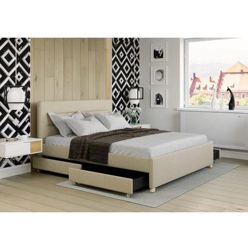 Big meble Łóżko 120x200 tapicerowane monza + 4 szuflady beżowe tkanina