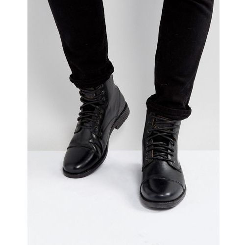 Levis emerson leather boots in black - black