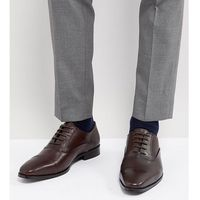 Dune wide fit toe cap derby shoes in brown leather - brown