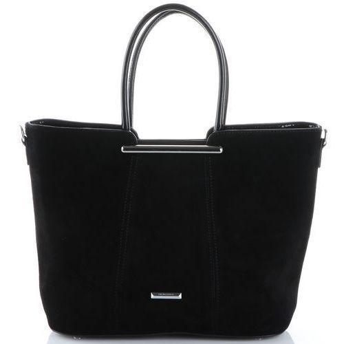 elegancka i klasyczna torebka damska skórzane kuferki czarne (kolory) marki Silvia rosa