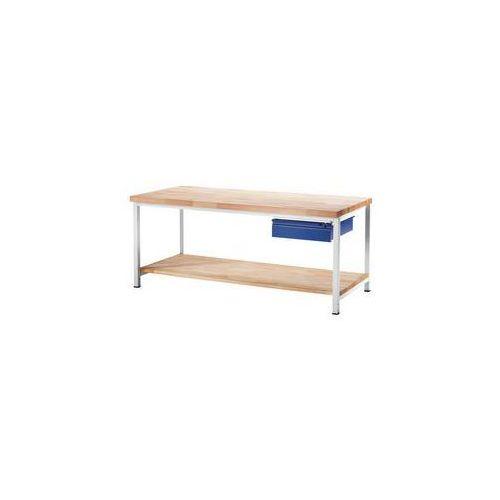 Stół warsztatowy, stabilny,1 szuflada w rozmiarze L, 1 blat z litego drewna bukowego