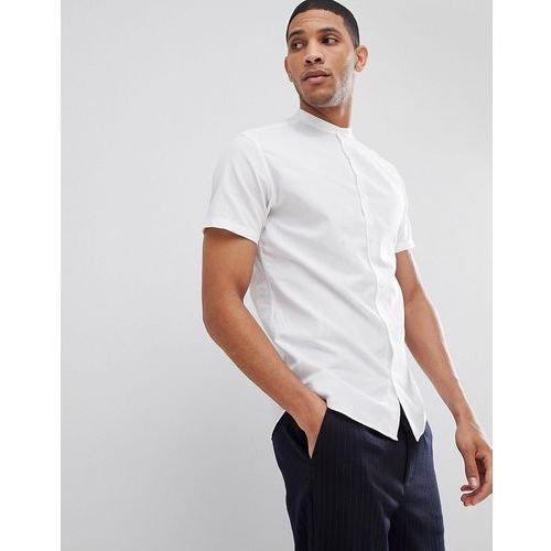 Selected Homme Short Sleeve Linen Shirt With Grandad Collar - White