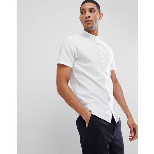 short sleeve linen shirt with grandad collar - white marki Selected homme