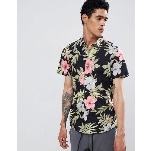 regular fit shirt in floral print - black, Burton menswear, S-XXL