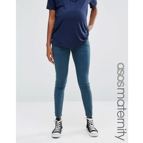 ASOS Maternity Ridley Skinny Jeans In Cynthia Wash With Under the Bump Waistband - Blue, kolor niebieski