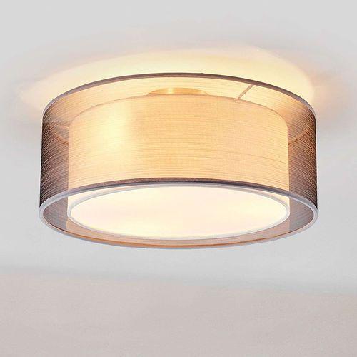 Lindby Klasyczna okrągła lampa sufitowa szaro-biała 40 cm - nica