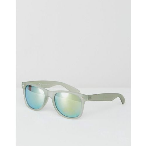 River Island Square Mirrored Lens Sunglasses In Green - Green