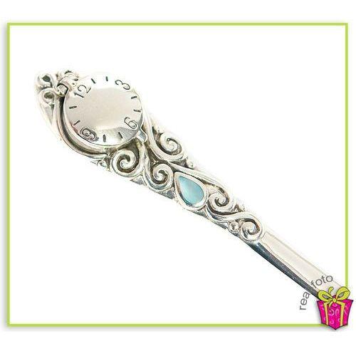 Srebrna łyżeczka na chrzest z niebieską masą perłową, zegarem
