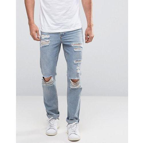 New Look Slim Jeans In Light Wash Blue With Knee Rips - Blue z kategorii Pozostałe