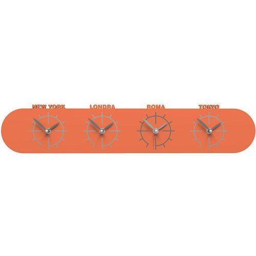 Zegar ze strefami czasowymi singapore pomarańczowy (12-007-63) marki Calleadesign