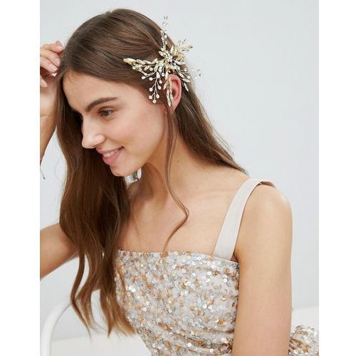 Stone & Rose Crystal Navette Statement Clip - Gold