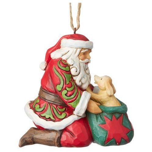 Jim shore Mikołaj z pieskiem zawieszka santa with puppy (hanging ornament) 6003358 figurka ozdoba świąteczna gwiazdor