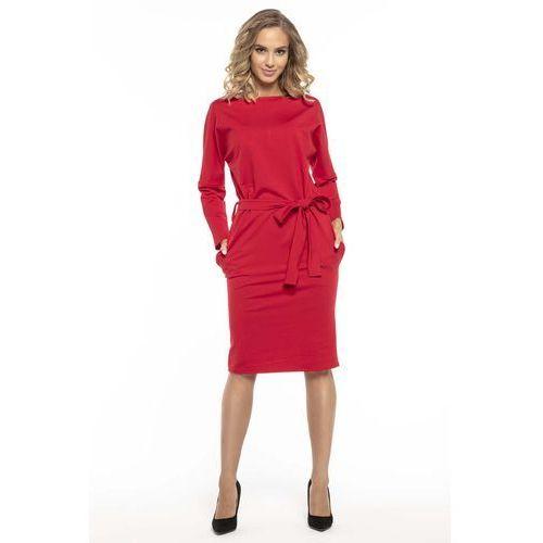 Czerwona Kimonowa Sukienka z Szarfą w Pasie, T250re