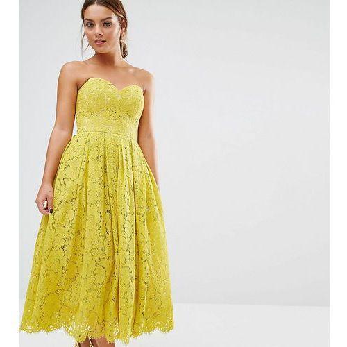 Asos petite sweetheart lace bandeau midi dress - yellow