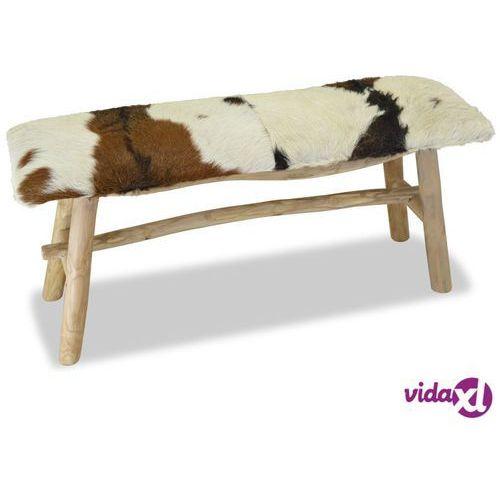 Vidaxl ławka, prawdziwa skóra, drewno tekowe (8718475533344)