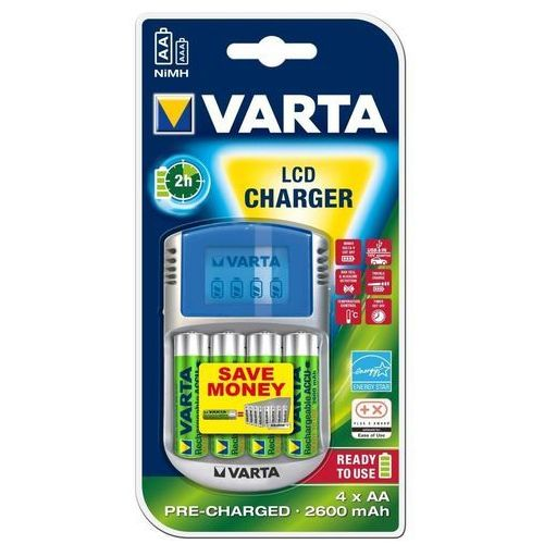 Ładowarka do akumulatorów aaa, aa lcd-lader, nimh, z zestawem akumulatorów marki Varta