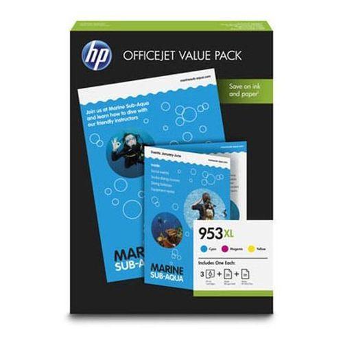 HP 3 x tusz CMY 953XL (F6U16AE + F6U17AE + F6U18AE), 1CC21AE + papier A4 75 ark.