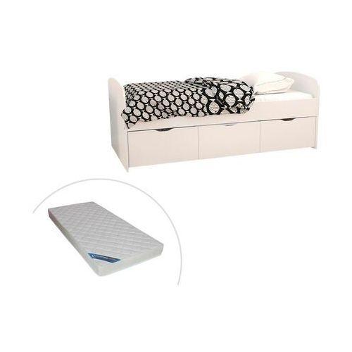 Łóżko louane z 2 szufladami i 1 pojemnikiem na pościel – 90 × 190 cm – kolor biały, z materacem marki Vente-unique.pl