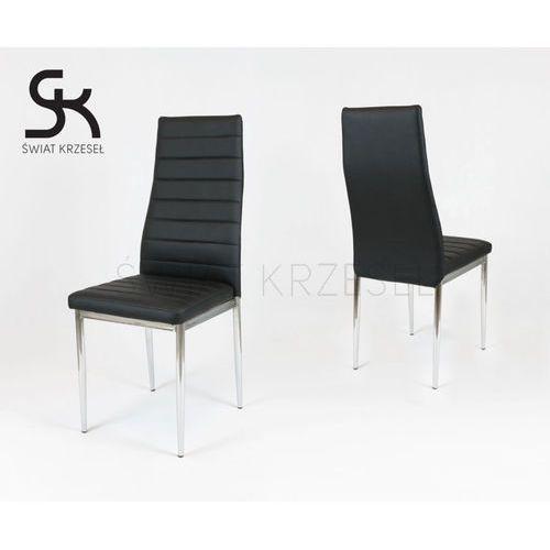 ks001 czarne krzesło z ekoskóry na stelażu chromowanym - czarny \ chromowany marki Sk design