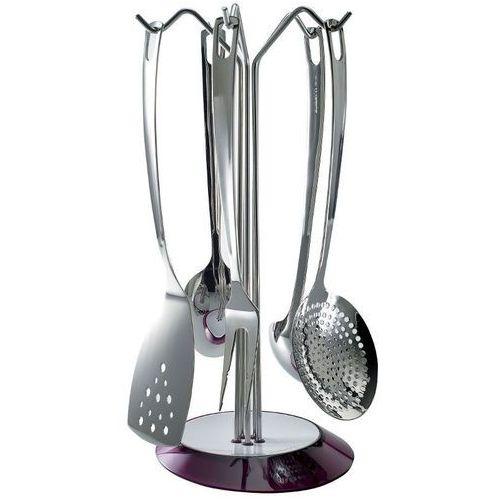 Casa bugatti - glamour - zestaw 5 przyborów na stojaku fioletowym - fioletowy