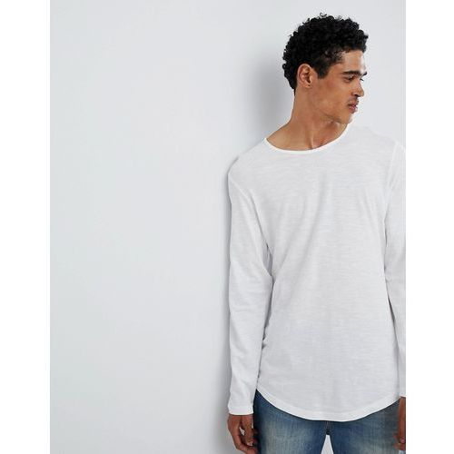 Esprit Longline Longsleeve T-Shirt With Curved Hem In White - White