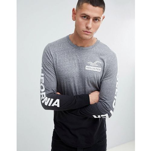 Hollister Back Print and Sleeve Logo Ombre Wash Long Sleeve Top in Grey to Black - Grey