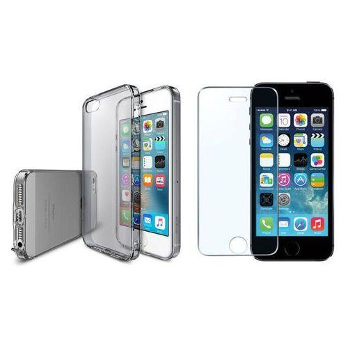 Zestaw   Rearth Ringke Air Smoke Black   Obudowa + Szkło ochronne Perfect Glass dla modeli Apple iPhone 5 / 5S / SE
