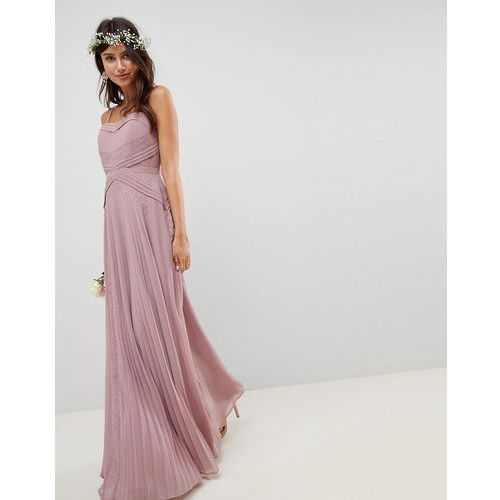 design bridesmaid pleated panelled cami maxi dress with lace inserts - pink marki Asos