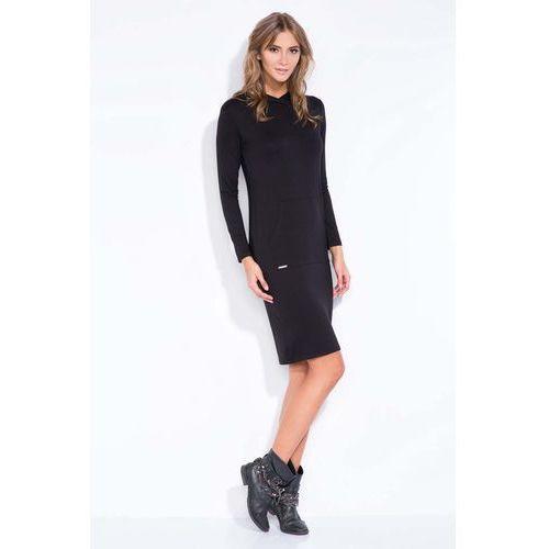 Czarna sportowa sukienka z kapturem i kieszenią kangurką, Fobya, 38-40