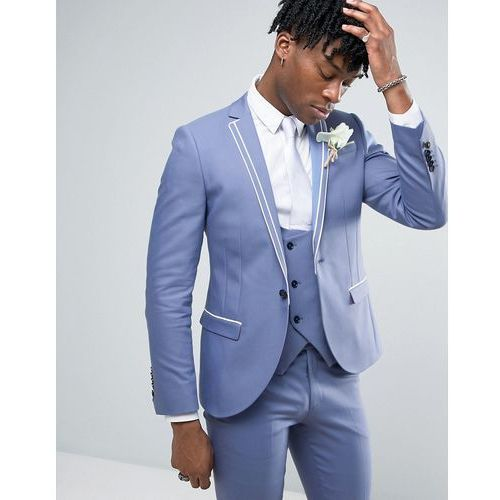 Noose & Monkey Super Skinny Wedding Suit Jacket With Double Piping - Blue