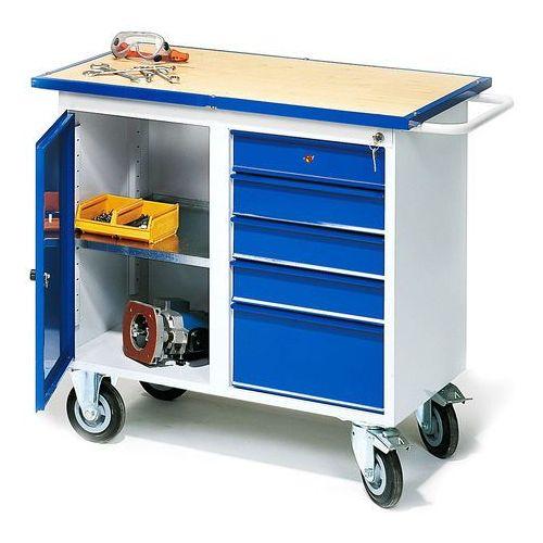 Mobilny stół warsztatowy FLEX, szafka, 5 szuflad, 23108