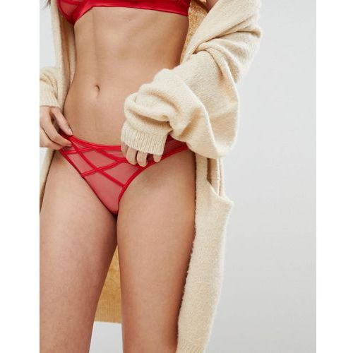 New Look Sheer Mesh Strapping Brazillian Brief - Red, kolor czerwony