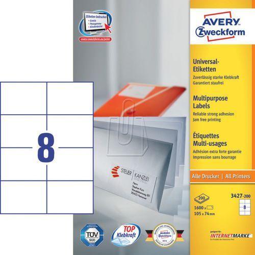 Etykiety uniwersalne Avery Zweckform trwałe 105 x 74mm 200 ark./op. 3427-200, 87499