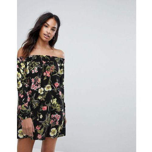 off the shoulder long sleeve day dress in floral print - black marki Ax paris