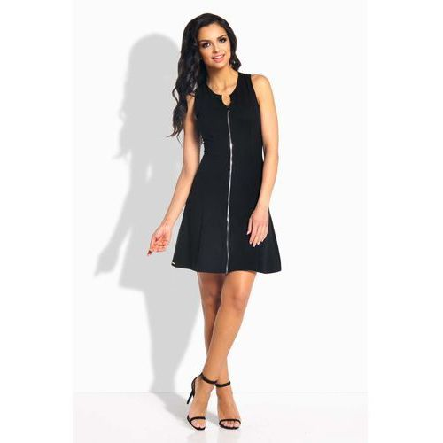 Czarna Sukienka Rozkloszowana bez Rękawów z Suwakiem, 1 rozmiar
