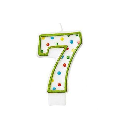 Świeczka cyferka w kropeczki siedem 7 - 8 cm - 1 szt.