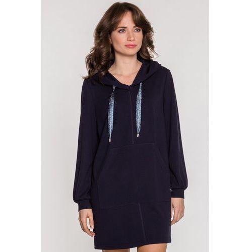 Sportowa sukienka z kapturem - Vito Vergelis, kolor niebieski