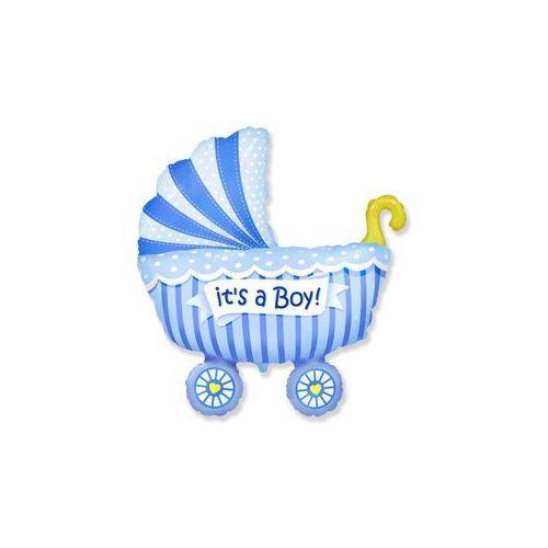 Balon foliowy do patyka - Wózek niebieski - 37 cm - 1 szt., #A179^ua