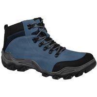 Trzewiki trekkingowe zimowe 3854 niebieskie tex ocieplane - niebieski ||błękitny ||czarny, Kornecki