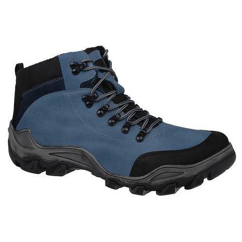 Kornecki Trzewiki trekkingowe zimowe 3854 niebieskie tex ocieplane - niebieski ||błękitny ||czarny