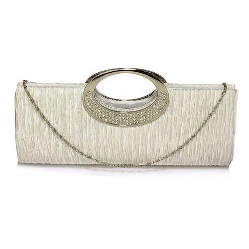 Biała kopertówka torebka wizytowa drapowana - biały, kolor biały