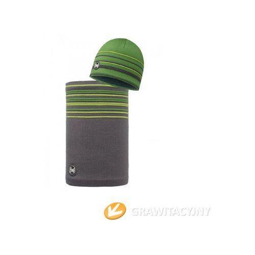 Zestaw  czapka knitted polar stowe green + komin neckwarmer buff knitted polar stowe green, marki Buff