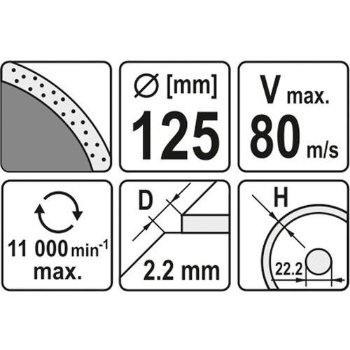 Yato Tarcza diamentowa, segment ciągły, 125 mm yt-6013 - zyskaj rabat 30 zł