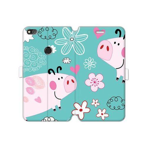 Etuo wallet book fantastic Huawei p8 lite (2017) - etui na telefon wallet book fantastic - różowe świnki