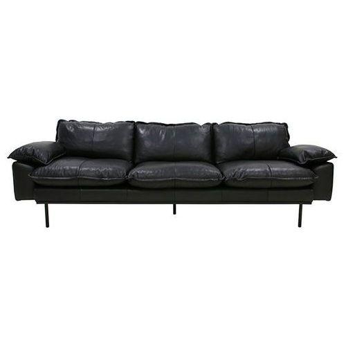 HK Living Sofa Retro 4-osobowa skórzana w kolorze czarnym MZM4676