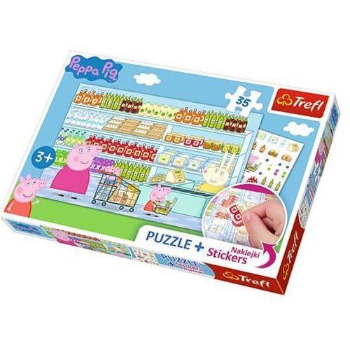 Trefl 35 elementów puzzle+naklejki peppa na zakupach