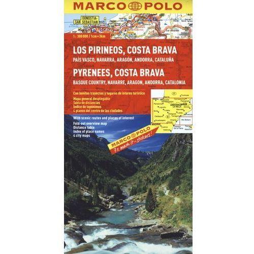 Hiszpania. Pireneje, Costa Brava 1:300 000. Mapa samochodowa, składana. Marco Polo